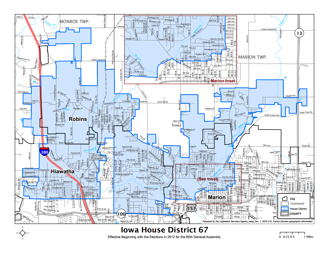Iowa House District 67 Map